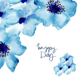 Greeting card with flowers in watercolor Stock Photo