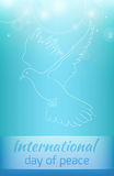 Greeting card with a flying dove Royalty Free Stock Images