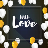 Greeting card with flying inflatable balloons and gray frame. Poster for Valentine s day for your loved ones. Vector Royalty Free Stock Photography
