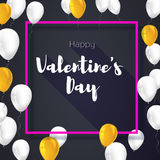 Greeting card with flying inflatable balloons and pink frame. Square poster for Valentine s day for your loved ones Stock Photos