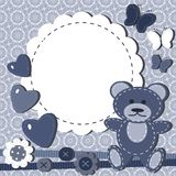 Greeting Card For Baby With Teddy Bear Stock Images