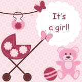 Greeting Card For Newborn Girl Stock Image
