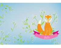 Greeting card with fox and flowers Stock Images