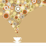 Greeting card with fragrant coffee on a brown background Royalty Free Stock Image