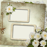 Greeting card with frame and bouquet of roses Stock Images