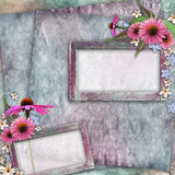 Greeting card with frame, flowers Stock Photo