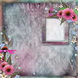 Greeting card with frame, flowers Stock Photos