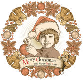Greeting card, frame. Happy New Year Merry Christmas. Family. Child, boy. Santa, tree. Winter. Vintage vector illustration. Stock Photos