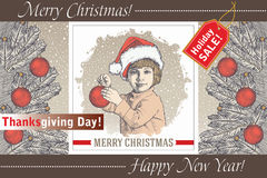 Greeting card, frame. Happy New Year Merry Christmas. Family. Child, boy. Santa, tree. Winter. Vintage vector illustration. Stock Image