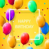 Greeting card with frame and lot of colorful balloons. Happy birthday. Vector illustration Royalty Free Stock Image