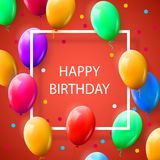 Greeting card with frame and lot of colorful balloons. Happy birthday. Vector illustration Stock Image