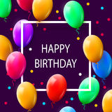 Greeting card with frame and lot of colorful balloons. Happy birthday. Vector illustration Royalty Free Stock Photography