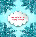 Greeting Card with Frame Made in Fir Twigs Stock Photo