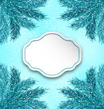 Greeting Card with Frame Made in Fir Twigs. Illustration Greeting Card with Frame Made in Fir Twigs for Winter Holidays - Vector Stock Image