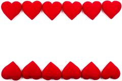 Greeting card frame of red hearts on a white background. with Co. Py space and using as Valentine`s day concept, love concept. wedding day, Symbol of Valentine`s royalty free stock photography