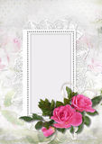Vintage background with frames and roses Royalty Free Stock Image