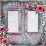 Greeting card with frames, flowers, pearls Stock Photos