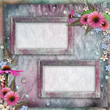 Greeting card with frames, flowers Royalty Free Stock Images