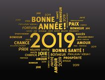 2019 Greeting card in French language. Gold greeting French words around New Year date 2019, isolated on black background vector illustration