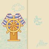 Greeting card with frock and steering wheel in doodle style stock illustration