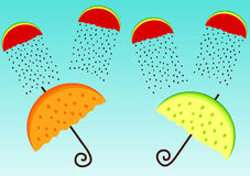 Greeting card with fruit umbrellas and clouds Royalty Free Stock Photos