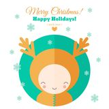 Greeting card with fun child for Christmas in flat. Greeting card for Christmas with funny character. Holiday flat vector illustration royalty free illustration