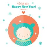 Greeting card with fun child for New Year in flat. Greeting card for New Year with funny character. Holiday flat vector illustration royalty free illustration