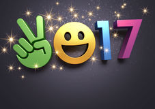 2017 Greeting card for fun. Colorful 2017 year type with a smiley symbol on a festive black background - 3D illustration royalty free illustration