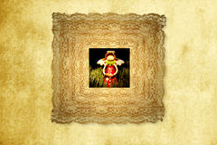 Greeting card,funny angel in old frame Stock Photography