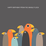 Greeting card with funny birds and text space Royalty Free Stock Photo