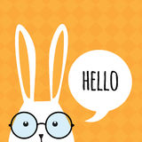 Greeting card with funny bunny. Easter Bunny Ears. Stock Image