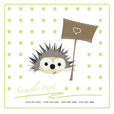 Greeting card with funny cartoon hedgehog Royalty Free Stock Photo