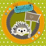 Greeting card with funny cartoon hedgehog Stock Photo