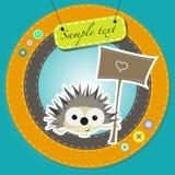 Greeting card with funny cartoon hedgehog Stock Photo