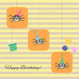 Greeting card with funny cartoon spider Royalty Free Stock Photos