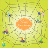 Greeting card with funny cartoon spider Royalty Free Stock Image