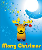Greeting card with funny Christmas deer and the moon Stock Photo