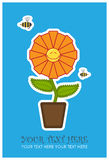 Greeting card with funny flower and bee. Stock Images
