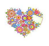 Greeting card. With funny flowers heart shape Royalty Free Stock Image