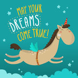 Greeting card with funny flying horse Royalty Free Stock Photography