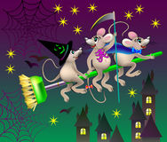 Greeting card with funny mice celebrating Halloween. Royalty Free Stock Image
