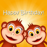 Greeting card with funny monkeys.  Royalty Free Stock Images