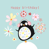 Greeting card with a funny penguin Stock Image