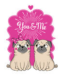 Greeting Card with funny Pug stock illustration