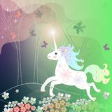 Greeting card with funny unicorn, running in summer forest. Napkin, chocolate packaging, tea box design. Fairy tale Stock Photos