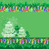 Greeting card with garland Stock Images