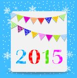 Greeting-card with a garland and numbers 2015. Vector illustration Royalty Free Stock Photo