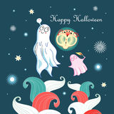 Greeting card with ghosts Royalty Free Stock Image