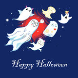 Greeting card with ghosts. Bright greeting card with funny ghosts on a blue background Royalty Free Stock Photography