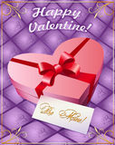 Greeting card with gift box. Valentines day Greeting card with a gift box in shape of heart and the letter from the lover Stock Photos